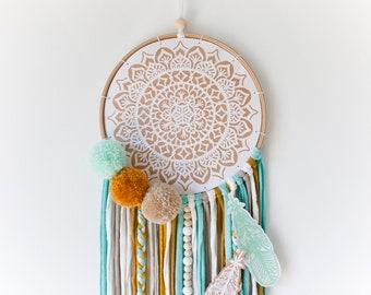 Nursery dream catcher. Wall hanging mandala. Boho dream catcher. New home gift
