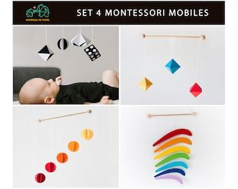 Montessori toys for newborn. Set 4 Montessori mobile. Munari - Gobbi - Octahedrons - Rainbow.