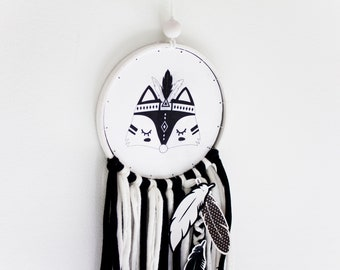Fox Dream catcher black and white. Tribal Fox wall hanging decor for monochrome nursery room in nordic style. FOX baby gift black and white