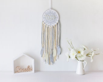 yellow dream catcher for wall decoration for nursery room, gray dream catcher personalized with baby name, boho wall hanging for baby gift