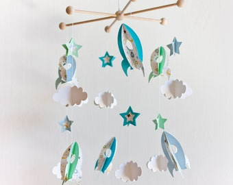 BABY MOBILE Rockets, baby mobile stars, baby gift, boy decor, nursery decor, kids mobile, blue baby room, babyshower, crib mobile, new born