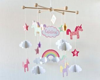 pink UNICORN Mobile, baby mobile, unicorn mobile, unicorn nursery, Unicorn baby mobile, unicorn gift, Unicorn baby room, girl room decor