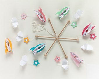 BABY MOBILE Rockets, baby mobile stars, baby gift, girl decor, nursery decor, kids mobile, pink baby room, babyshower, crib mobile, new born