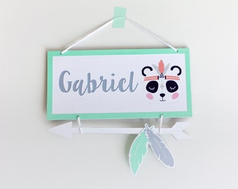 PANDA sign for nursery room. Custom door sign with baby name. PANDA wall hanging decor. Tribal PANDA baby room. Panda Baby gift