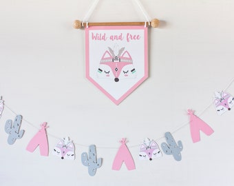 Wild and free banner / Pink FOX DECOR for baby girl room / Tribal fox pennant / Tribal fox banner / Nursery fox / fox baby gift