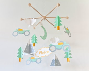 Adventure baby mobile for scandinavian nursery. Mountain and motorcycles mobile. Nordic crib mobile. Mustard  white gray mint nursery mobile