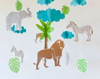 Safari mobile, Jungle adventure mobile, Mobile baby, mobile animals, zebra lion elephant, crib mobile boy, safari nursery, jungle nursery