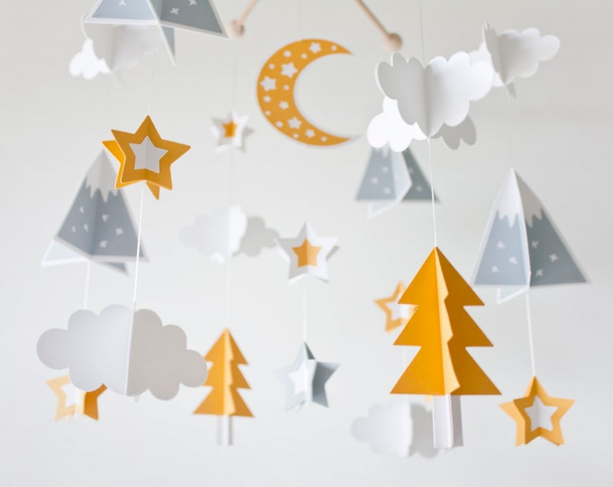 Featured listing image: Mountain mobile. Adventure baby mobile. Mustard gray white mobile. Woodland baby mobile. Forest mobile. Scandinavian nursery. Nordic mobile