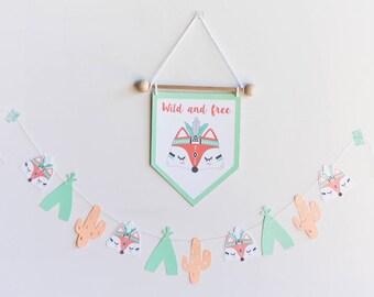 PENNANT FOX nursery, feather fox pennant, tribal fox banner, nursery fox, nursery indian, wild and free, room baby fox decoration, baby gift
