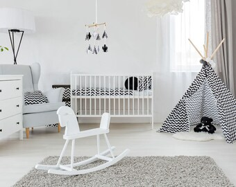 Black and white baby mobile. Teepee and CACTUS mobile for monochrome nursery room. Nordic style crib mobile