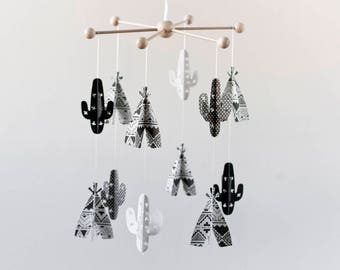 BLACK and WHITE baby MOBILE, cactus nursery, tribal mobile, Teepee and cactus mobile, Baby crib mobile, Black and white nursery, baby shower