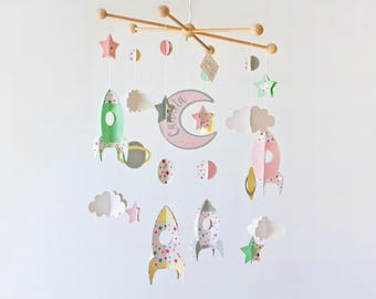 planets crib mobile, space mobile, rockets stars mobile, baby crib mobile, space nursery decor, galaxy mobile, hanging mobile girl