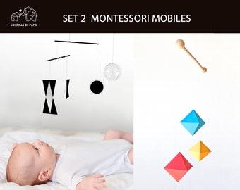 Set 2 Montessori mobile, MUNARI mobile, OCTAHEDRON mobile, hanging montessori toy for new born