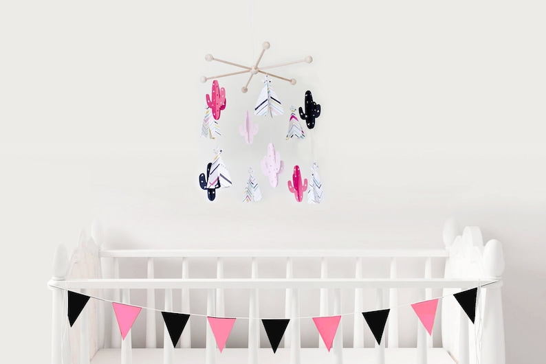 Pink Black Mobile Baby Pink Black Nursery Decor Pink Crib Etsy