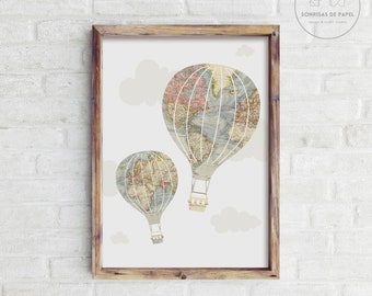 Travel nursery decor. Vintage hot air balloon wall decor. Vintage maps wall decor. Travel wall art