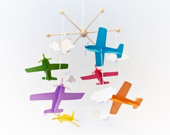 Colorful mobile. Baby mobile colorful airplanes. Infant mobile to decorate the baby's room. Birth gift for baby pilot.