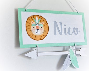 Lion wall decor. LION sign name. Custom Lion door sign with baby name. LION wall hanging decor. Lion baby room. Lion Baby gift