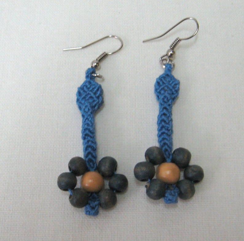 Makramee Jewelry set Blue set macrame  wooden elements Macrame jewelry set Macrame earrings Macrame necklace Handmade set for women