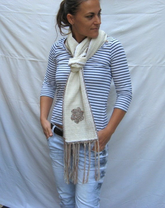 81e5afd23927 Long white scarf Women accessory autumn Natural big scarf