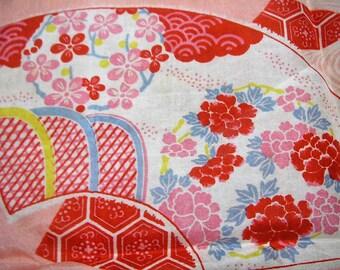 232: fan/flower/peony/chrysanthemum/wave/cloud/vintage Kimono silk fabric/red/white/pink/yellow/blue/colorful/2pc