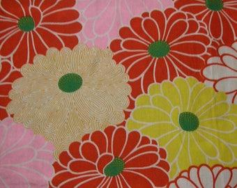 104: chrysanthemum pattern/vintage Kimono silk fabric/red/yellow/pink/white/green/colorful