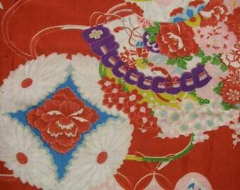 106: fan/flower/chrysanthemum/vintage Kimono silk fabric/red/white/colorful/2pc