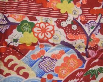 105: flower/chrysanthemum/ume/wave/vintage Kimono silk fabric/red/white/colorful/2pc