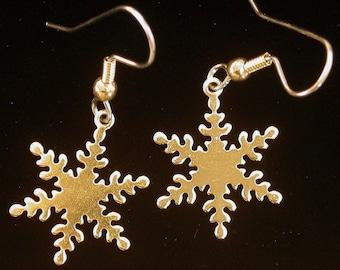 Snowflake Snow Earrings 24 karat Gold Plate Holiday Winter Wonderland Snowing Christmas Gift EG203D / ES093