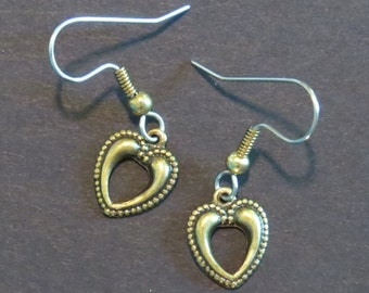 Valentine Heart Earrings Antiqued Brass or Oxidized Matte Silver Tiny Open EG277 / ES246