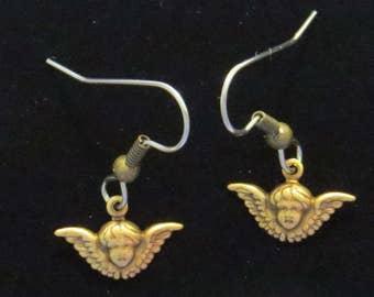 Angel Head with Wings Earrings Tiny Antiqued Brass Vintage Inspired Cherub Cupid EG565B