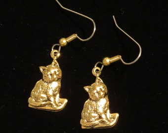 Cat Earrings 24 Karat Gold Plate Kitten Kitty Cats Kittens EG527