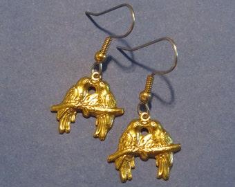 Love Bird Earrings 24 Karat Gold Plate 2 Birds on a Branch Romance Valentines Day Gift EG389