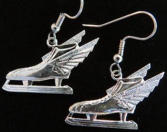 Speed Skates Earrings 24 Karat Gold Plate or Sterling Silver Plate Ice Wing Skate EG292 / ES263