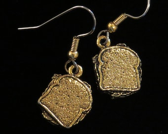 Sandwich Earrings Gold Plate Diner Restaurant Lunch BLT Waitress Deli Shop Meal Server Cooking