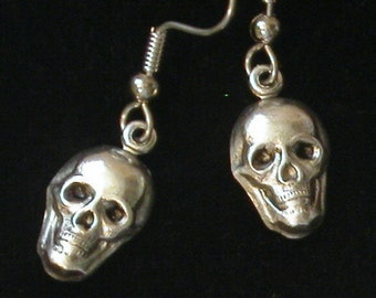 Skull Earrings Halloween Goth Gothic Day of the Dead 24 Karat Gold Plate Or Oxidized Matte Silver EG416 / ES323