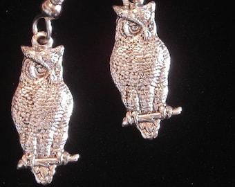 Owl Earrings Oxidized Matte Silver Wise Old Night Hoot Barn Owls Halloween ES392