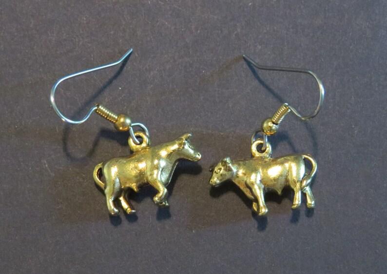 Bull Cow Earrings 24 Karat Gold Plate Moo Cows Barn Farm Steer Etsy