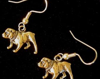 Bulldog Bull Dog Earrings Antiqued Brass School Sport Mascot EG071 or Silver Plate ES185S