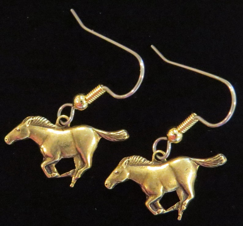 Mustang Earrings Brass or Oxidized Matte Silver Horse Pony Sports Ford Car EG426  ES387