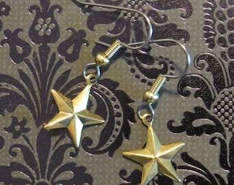 Celestial Star Earrings 24 Karat Gold Plate or Copper 5 Pointed Stars EG504 / EC041