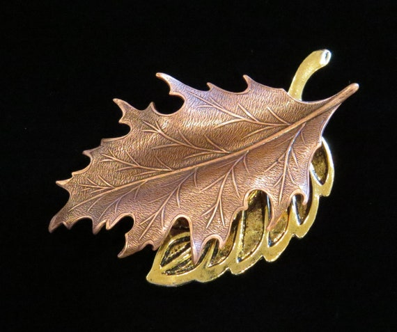 Autumn Leave Pin Brooch Copper Gold Mixed Metals Fall Leaf Etsy