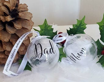lost loved ones memory personalised feathered christmas xmas baubles missed lost pets paw prints on heart dad mum - Christmas Decorations In Memory Of A Loved One