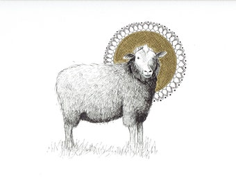 Animal mandala, bohemian art gift, Sheep illustration, sheep artwork, holistic art, harmony of nature,  Inktober 2017, Animal mandala