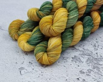 Gloop - Hand Dyed Variegated Sock Yarn - Superwash Merino Nylon - 4 Ply Fingering Weight - Green - Gold - Brown