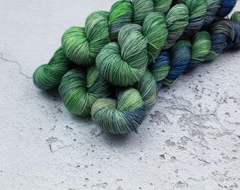 Alderann - Hand Dyed Variegated Sock Yarn - Superwash Merino Nylon - 4 Ply Fingering Weight - Green - Blue