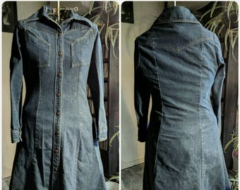 Vintage 70s Landlubber Denim Western Dress Cowgirl