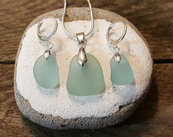 Sea glass set Teal seaglass Necklace and earrings set, Sea glass jewellery, beach finds, uk Sea glass, Victorian, Genuine sea glass