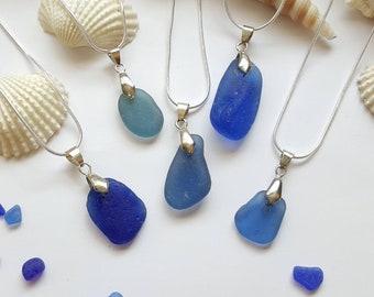 Blue sea glass Necklace, sea glass Jewelry, beach glass jewelry, Blue sea glass, blue sea glass jewelry