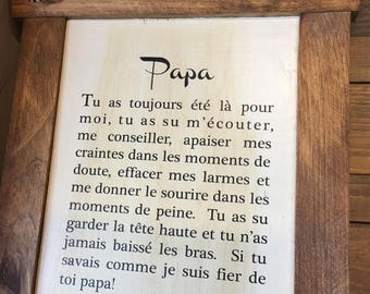 "Plaque ""Papa je t'embrasse fort"""