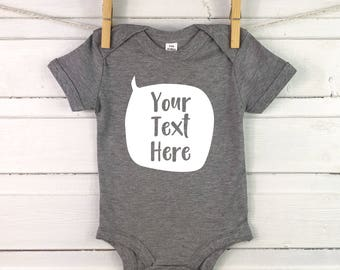 f222eba87 Personalised baby grow - your message on baby vest - custom babygrow -  newborn boy - your text here - new baby gift speech bubble baby grow